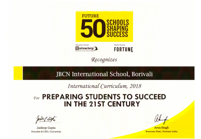 Future 50 Schools shaping success certificate