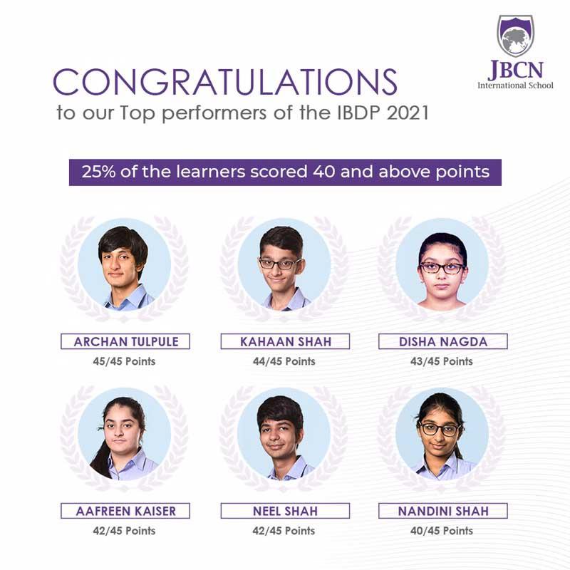 JBCN International School Oshiwara IBDP result 2020 2021 learners above score 40